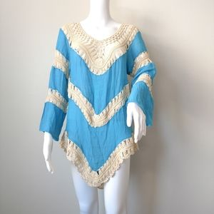NEW Velzera crocheted tunic top cover up XL blue
